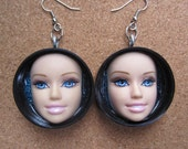 Upcycled Blue eyed Barbie doll face earrings - black caps