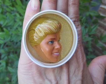 Golden Boy Ken in Profile - upcycled bottle cap ring