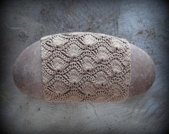 Crocheted Lace Stone, Oval, Original, Handmade, One of a Kind, Table Decoration, Mocha Brown, Monicaj