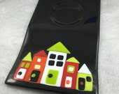 Custom Order Please Do Not Buy Wonky Houses Serving Platter Black Colorful Houses Fused Glass and Serving Bowl Set