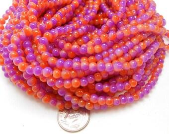 100 Purple and Orange Glass Beads 4mm, halloween beads (H2161)