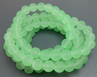 50 Frosted Mint Green Matte Sea Glass Beads 8mm frosted beach glass round (H5008)