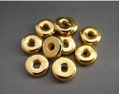 SALE Mykonos Beads 8mm 24 Karat Yellow Gold Spacers Greek Ceramic Beads Naos Rondelles Disks Donuts
