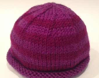 Purple + Magenta Newborn Knit Baby Hat - Handmade - READY TO SHIP