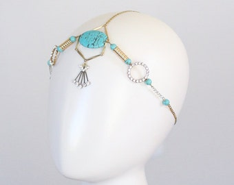 Bohemian, Halo, Grecian Headpiece, Turquoise Headpiece, Bridal Headpiece,
