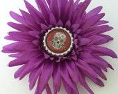 Day of the Dead Sugar Skull Flower Hair Clip or Brooch