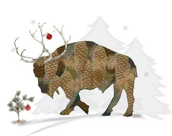 Buffalo Cards - Reindeer Buffalo in Santa Hat  -  Pine Cone Buffalo - Blank Christmas Cards - SET of 2 - Buffalo NY
