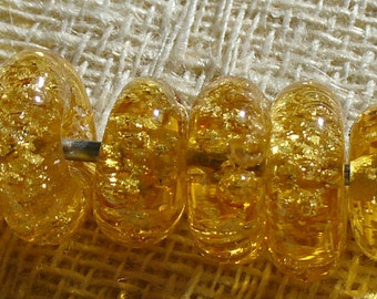Lampwork Glass Beads  by Catalinaglass  SRA Gold Champagne Disks