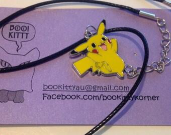 Pokemon Pikachu Charm on shiny waxen cord Necklace