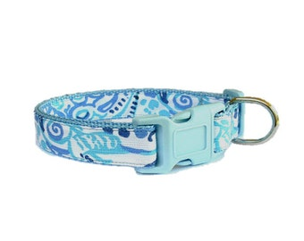 Lucky Trunks Dog Collar Made from Lilly Pulitzer Fabric Size: Your Choice