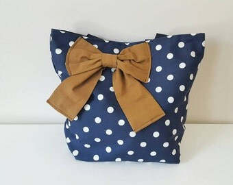 Navy blue and white tote bag with nutmeg tan bow/canvas tote bag/ hand bag/ bridesmaids/ gift bag/ large tote/ market bag