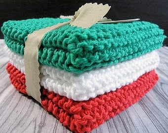 Red, White and Green Hand Knit Dishcloths - Christmas Trio Set of 3
