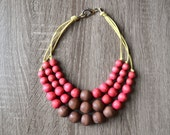Chunky Necklace - Pink and Brown