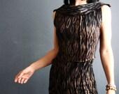 Waiting for the Sun - iheartfink Handmade Hand Printed Womens Metallic Art Print Sleeveless Jersey Cowl Top