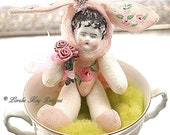 Cottage Rose Bunny Soft Stuffed Needle Felted Doll Anthropomorphic Miniature Art Doll Shabby Rabbit Doll  Lorelie Kay Original