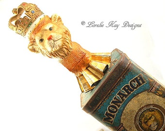King of the Jungle Art Doll Assemblage Sculpture Functional Art Lion Art Doll Mixed Media Art Doll