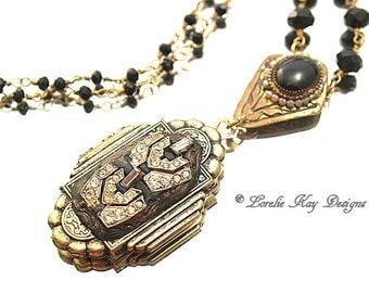Art Deco Style Locket Necklace Antique Look Rhinestones Assemblage Pendant Lorelie Kay Original