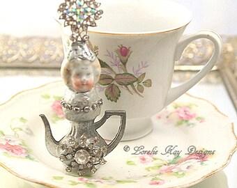 Jennie Teapot Art Doll  Original Art Doll Assemblage Tiny Teapot Mixed Media Doll Sculpture