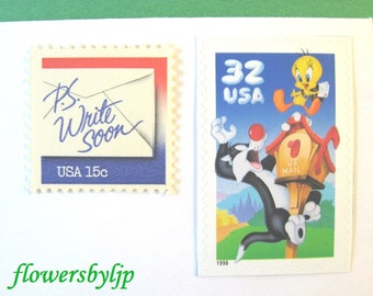 Postage Stamps Unused, Tweety Sylvester Stamp, Write Soon Red White Blue Stamp, Mail 10 Cards or Child Birthday Party Invitations, 47 cents