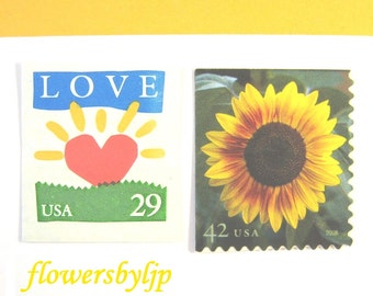 Rustic Floral Love Stamps 2017 New Rate, Golden Sunflower + Love Sunrise, Mail 20 Wedding Invitations 2 oz, 70 cent postage stamps unused