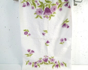 Vintage hand towel, kitchen towel, purple and green flowers, cute retro kitchen towel