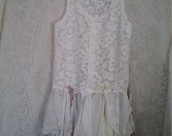 Shabby Chic Lace Top Vintage Hankies