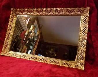 Vintage 1950's 1960's Gold Mirrored Vanity Dresser Tray