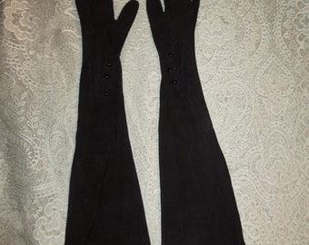 SALE Vintage 1950's Black Suede Opera Gloves Leather 22.5 Inch ~Size 7.5 Saks Fifth Avenue