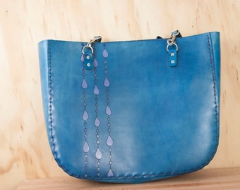 Leather Tote - Large Purse - Blue leather with Rain pattern - Handmade