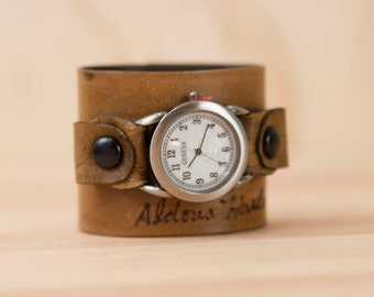 Leather watch - Personalized Cuff Watch in the Smokey Pattern in Antique Brown - Handmade with Custom Inscription