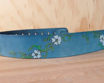 Guitar Strap - Leather in the Willow Pattern with Flowers and Leaves - Handmade Guitar Strap for Acoustic or Electric Guitars