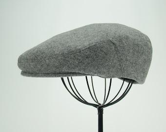 Light Grey Heather Wool Men's Sixpence Hat -  Flat Jeff Cap, Ivy Cap, Driving Cap for Men, Women, and Children