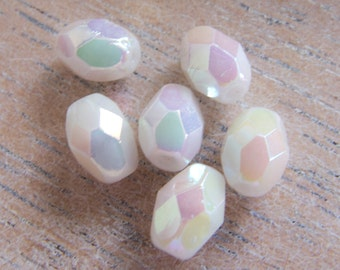 Vintage Beads Swarovski 1947 White Iridescent Faceted Oval Glass Beads - 7mmx5mm - Bridal - Lot of 6