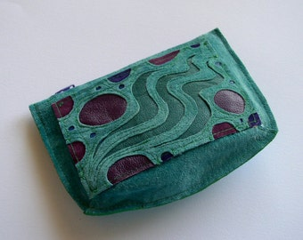 Wallet Pouch in turquoise suede