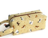 Boxy Bag Knitting Project Zippered Pouch - Imported Japanese fabric, Little Dogs