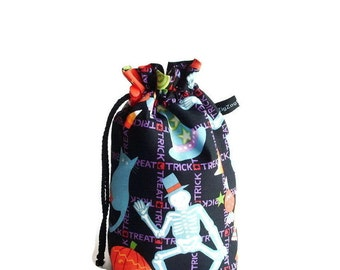 Drawstring Bag, Padded Knitting Project Bag - Halloween Tricky Treats
