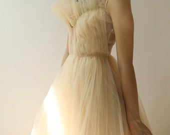 Sample SALE - long peach tulle and organza dress with hand beaded embellishment
