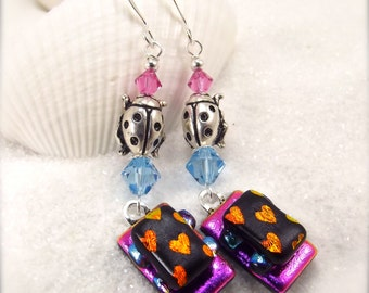 Dichroic glass earrings, jewelry, gift, statement earrings, modern pink earrings, what's trending now in jewelry,glass earrings,handmade