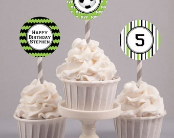 Printable Soccer Birthday Cupcake Toppers