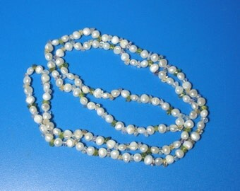 Vintage 36 inch Long Pearl and Quartz Necklace