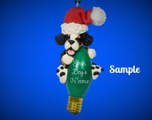 Bernese Mountain Santa Dog Christmas Holidays Light Bulb Ornament Sally's Bits of Clay OOAK PERSONALIZED FREE with your dog's name