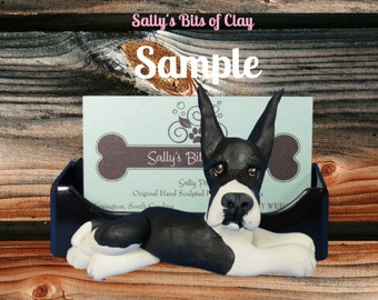 Mantle black and white Great Dane dog Business Card Holder / Iphone / Cell phone / Post it Notes OOAK sculpture by Sally's Bits of Clay