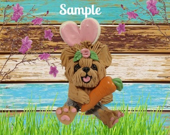 Yorkie Yorkshire Terrier Easter Bunny dog with Carrot OOAK Clay art by Sally's Bits of Clay