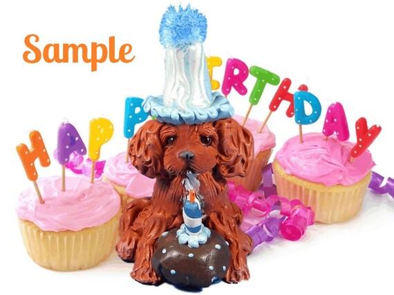 Ruby Cavalier King Charles Spaniel BIRTHDAY dog OOAK Clay Cake Topper ...