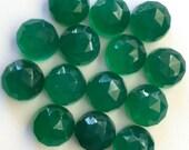 Gemstone Cabochons Green Onyx Rose Cut 10mm FOR ONE