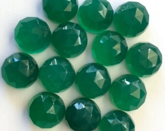 Gemstone Cabochons Green Onyx Rose Cut 10mm FOR ONE