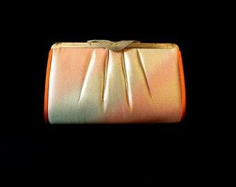 Vintage Japanese Kimono Clutch - Vintage Clutch - Bridal Clutch - Orange Silver Clutch - Bridal Purse - Japanese Clutch - Japanese Bag