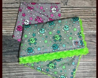 SUPER SALE CUSTOM Exclusive Skull and Stars baby or toddler blanket Teal and Lime or Shades of pink and your choice of minky Skull and Cross