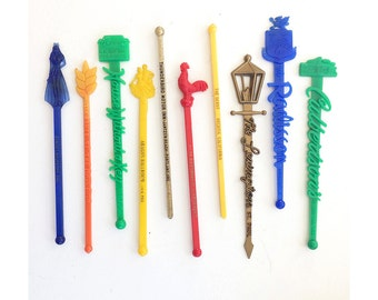 Vintage Swizzle Sticks - set of 10