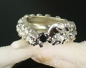 VDay SALE Black Diamond Prong Set Tentacle Ring